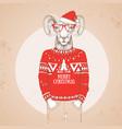 christmas hipster fashion animal ram or mouflon