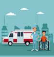 city landscape color background with ambulance vector image vector image