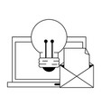 computer with light bulb and envelope in black and vector image vector image