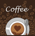 cup of coffee and beans top view flat vector image vector image