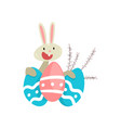 cute white easter bunny with colorful eggs funny vector image