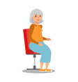 elderly lady sitting in chair flat vector image