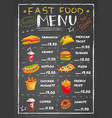 fast food restaurant menu on chalkboard vector image vector image