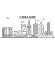 florida miami architecture line skyline vector image