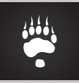 foot print icon on black background for graphic vector image