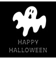Funny flying ghost Happy Halloween bone text vector image vector image