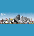 giza egypt city skyline with gray buildings and vector image