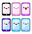 happy smartphone cartoon character kawaii set vector image vector image