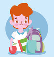 happy teachers day student boy backpack books vector image vector image