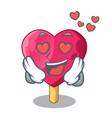 in love heart shaped ice cream the cartoon vector image vector image