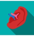 Internal structure of ear icon flat style vector image vector image