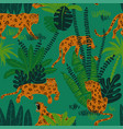 leopard in jungle seamless pattern vector image vector image