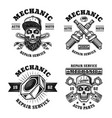 mechanic and repair service four emblems vector image