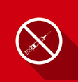 no syringe sign no vaccine icon with long shadow vector image vector image