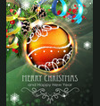 orange christmas bauble with fir branches and vector image vector image