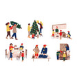 preparing christmas family decorating eve and vector image