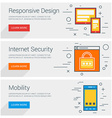 Responsive Design Internet Security Mobility Line vector image