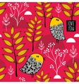 Romantic wallpaper with cute small birds on the vector image