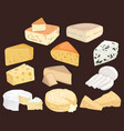set cheeses collection cartoon cheeses vector image vector image