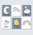set cute pastel inspirational cartoon posters