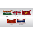 set flags of countries in asia india georgia vector image