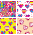 set heart pattern vector image vector image