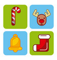 set icons merry christmas decoration celebration vector image vector image