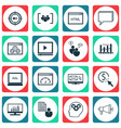set of 16 marketing icons includes search vector image vector image