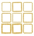 Set of 9 decorative square gold border frames vector image vector image
