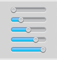 slider bars gray blue volume level console vector image vector image