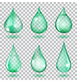 Transparent turquoise drops vector image vector image