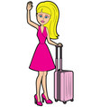 traveller woman with a luggage vector image