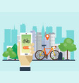 urban bike renting system using phone app vector image vector image