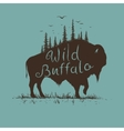 wild buffalo with forest on him vector image vector image