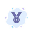 winner achieve award leader medal ribbon win blue vector image