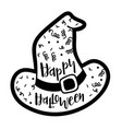 witch hat template saying happy halloween vector image