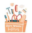 zero waste essentials falling into paper bag vector image vector image