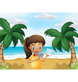 A girl holding pictures at the beach vector image vector image