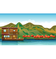 A river and a boat house vector image vector image