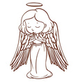 A simple sketch of an angel praying vector image vector image