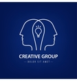 abstract two people with light bulb logo vector image vector image