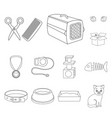 an animal cat outline icons in set collection for vector image