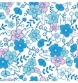 Blue and pink kimono blossoms seamless pattern vector image vector image