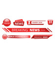 breaking news banners television broadcast header vector image