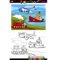 cartoon plane train ship coloring page vector image vector image