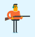 caucasian white man aiming with a rifle gun vector image vector image