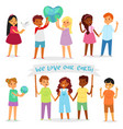 children world happy kids in peace on vector image