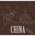 China landmarks Retro styled image vector image