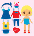 cute girl paper doll for kids dress up the doll vector image