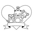 cute monkey panda raccoon owl animals heart love vector image